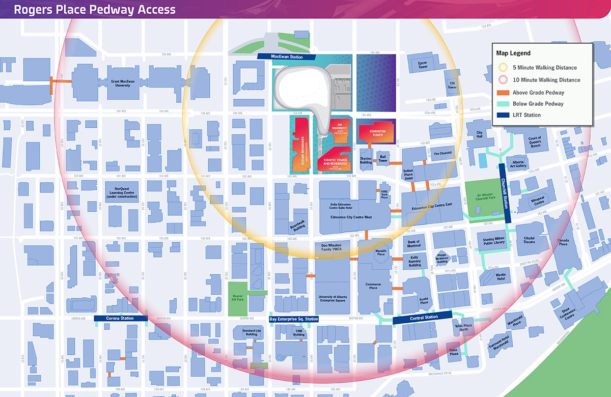 Edmonton Pedway Map Getting To The Arena | Rogers Place