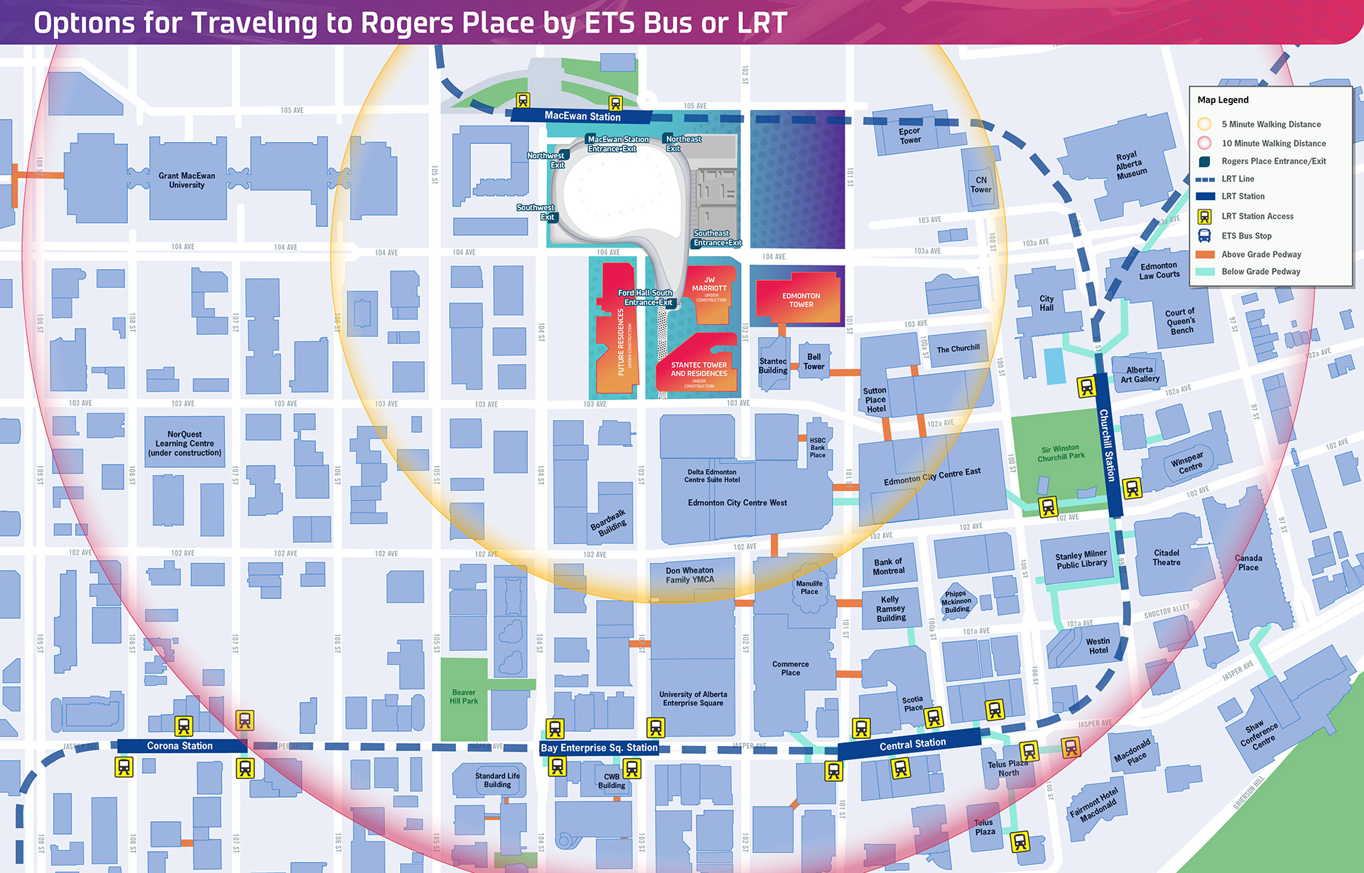 Getting To Rogers Place Transit - Map out walking distance